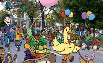 Easter Bonnets on Parade by illustrator Scott DuBar
