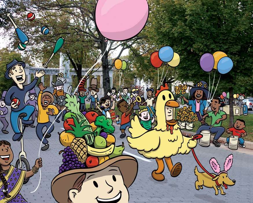 Easter Bonnets on Parade by illustrator Scott DuBar